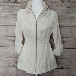 {French Connection} cream zip up jacket